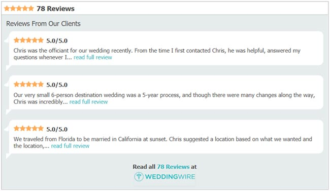officiant reviews wedding wire