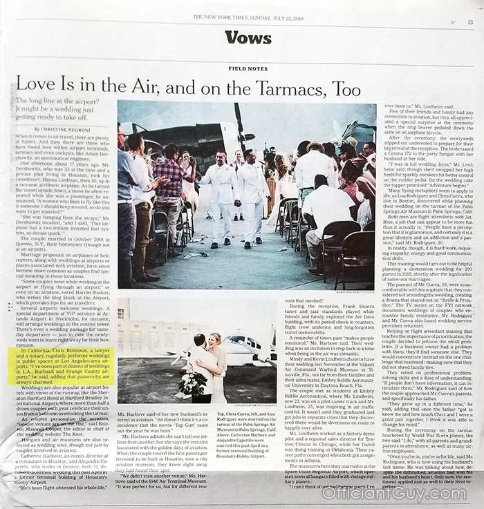 NY Times article about airport weddings. Officiant Guy is mentioned as one of the top officiants for airport weddings.