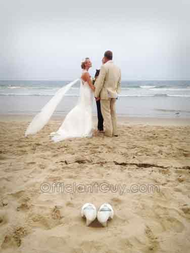 Officiant Guy Performing A Small Wedding On The Beach In Southern California
